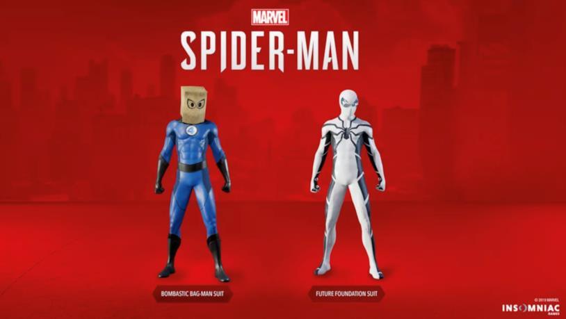 I costumi Bombastic Bag-Man e Fondazione Futuro di Spider-Man in Marvel's Spider-Man