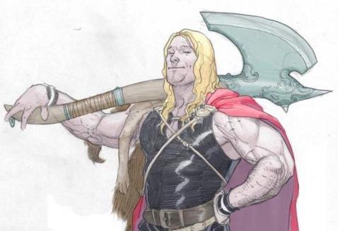 Un giovane Thor con Janbjorn, la sua gigantesca ascia