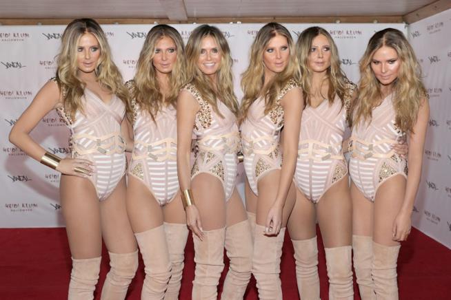 Heidi Klum in compagnia dei suoi cinque cloni ad Halloween 2016