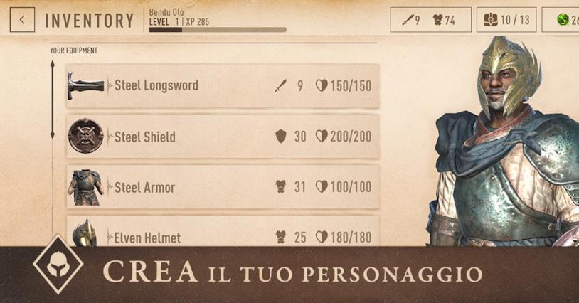 La schermata del personaggio in The Elder Scrolls Blades