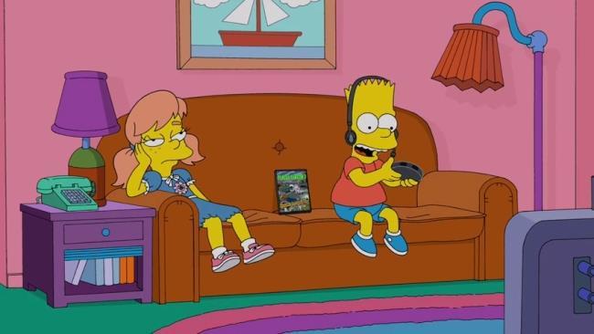 Bart gioca ai videogiochi davanti alla sua fidanzata