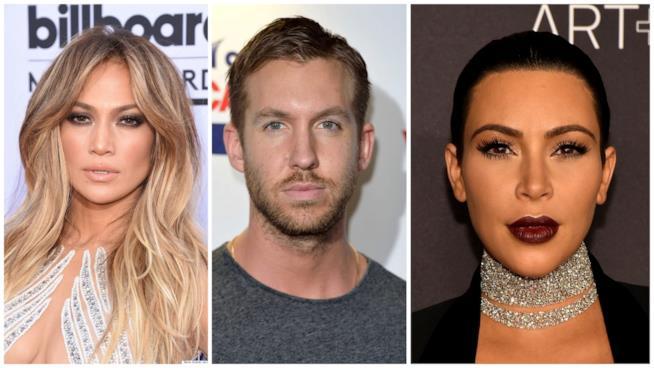 Primo piano di Jennifer Lopez, Calvin Harris e Kim Kardashian