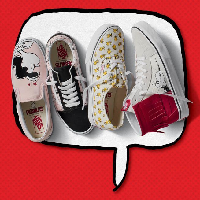 Quattro modelli di scarpe da ginnastica con i Peanuts da Vans