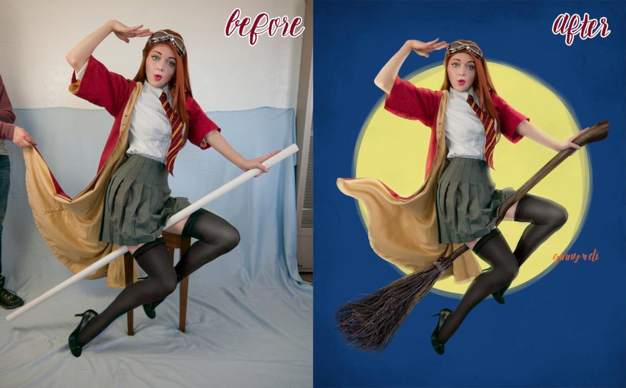 Pin-up Ginny prima e dopo i ritocchi in Photoshop