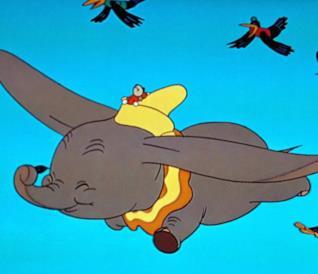Una scena dal lungometraggio animato Dumbo (1941)