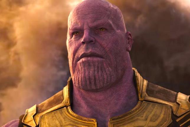 Thanos in una scena di Infinity War