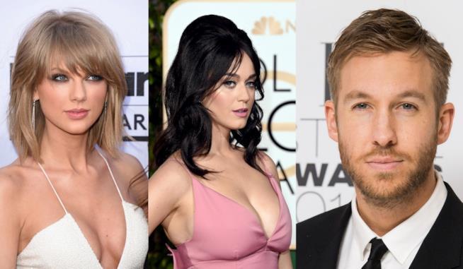 Primo piano di Katy Perry, Calvin Harris e Taylor Swift