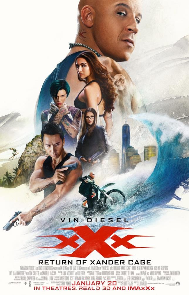 Il poster di xXx - Il ritorno di Xander Cage con Vin Diesel, Deepika Padukone, Nina Dobrev