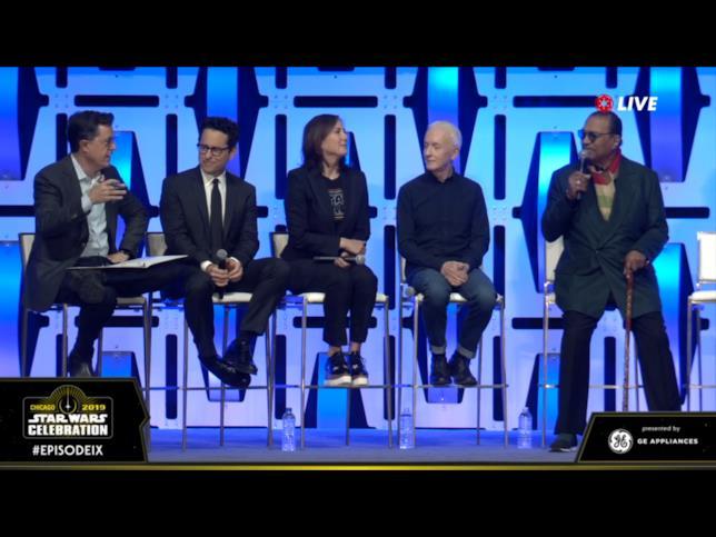J.J. Abrams, Kathleen Kennedy, Stephen Colbert, Anthony Daniels e Billy Dee Williams