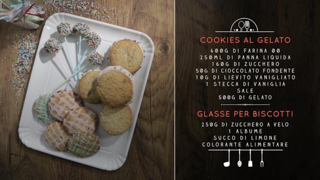 La ricetta dei cookies al gelato e delle glasse per biscotti