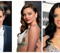Primo piano di Miranda Kerr, Orlando Bloom e Katy Perry