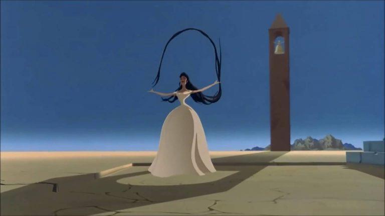 La protagonista di Destino gioca coi propri capelli in un paesaggio surreale