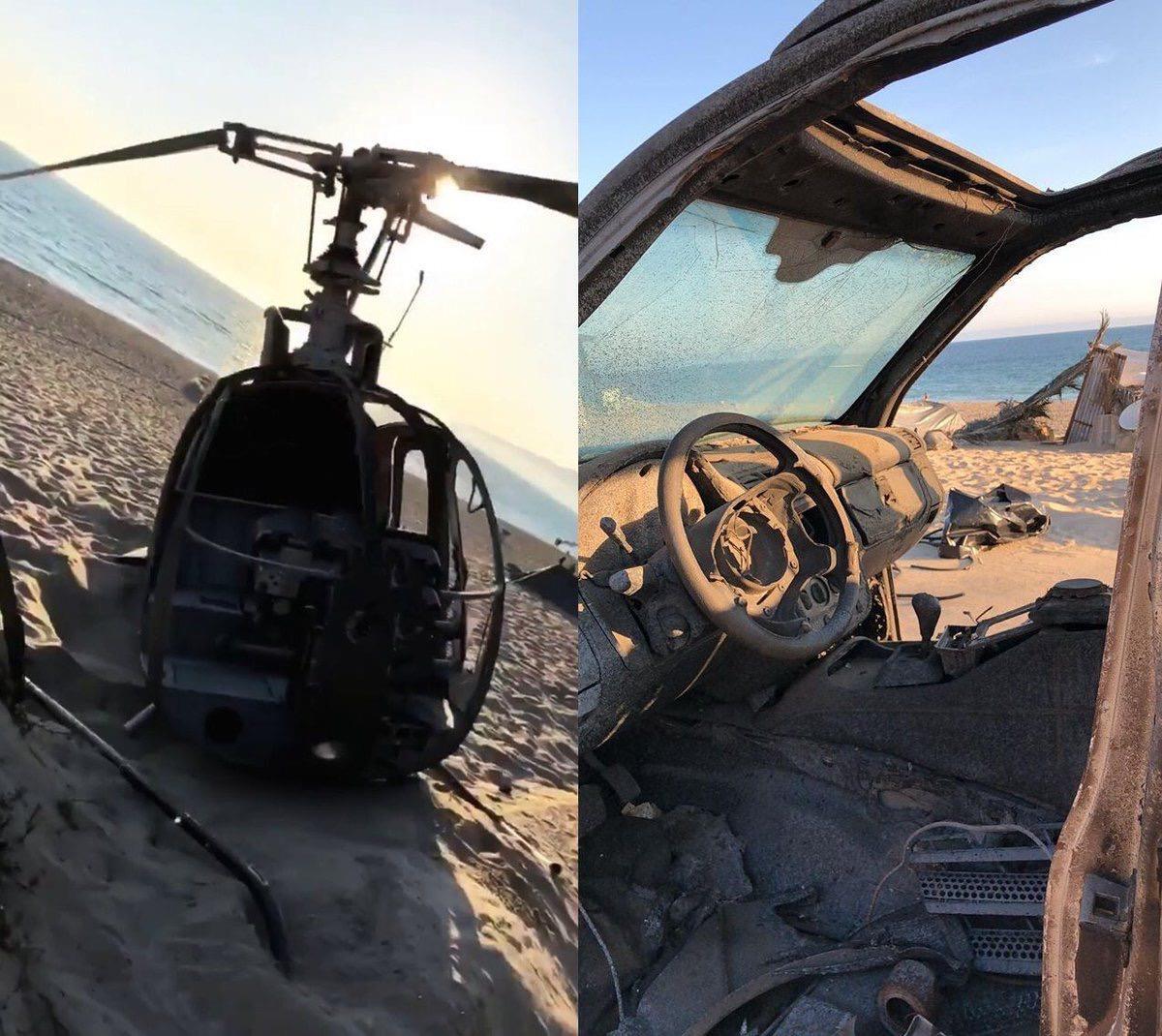 Altro collage con gli interni di un'auto e di un elicottero