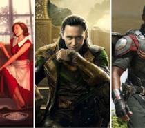 Da sinistra: Il poster di WandaVision, una immagine di Loki e una di Falcon