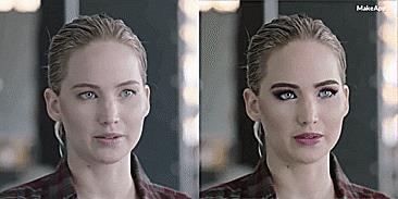 La versione accattivante dell'applicazione sul viso di Jennifer Lawrence