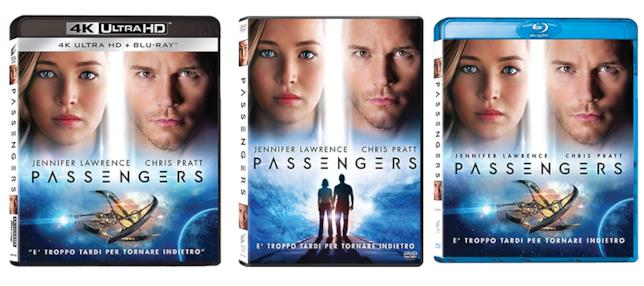 Packshot delle versioni Home Video di Passengers