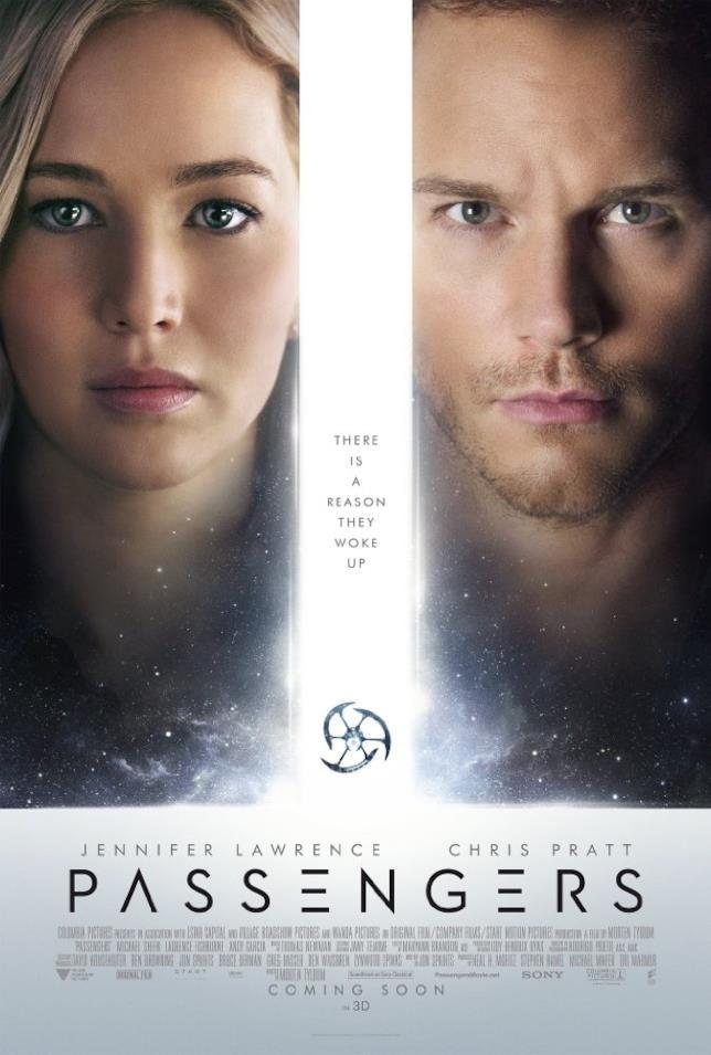 Jennifer Lawrence e Chris Pratt, protagonisti di Passengers