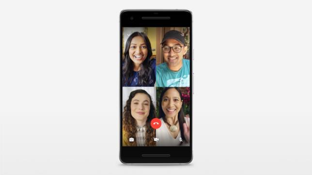 Una videochiamata fra quattro utenti di WhatsApp