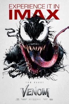 Venom e la sua lingua nel poster IMAX del film