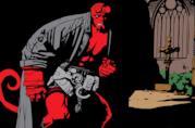 Hellboy in una chiesa in una tavola di Mike Mignola