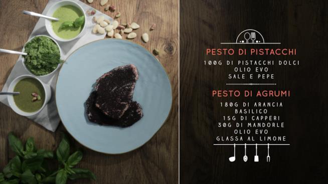 Lw ricette del pesto di pistacchi e del pesto di agrumi con tonno in crosta