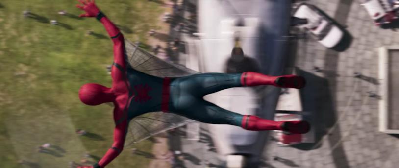 Le ali del costume di Spider-Man creato da Tony Stark si mostrano in una scena di Homecoming