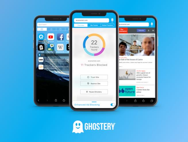L'interfaccia di Ghostery su iOS8