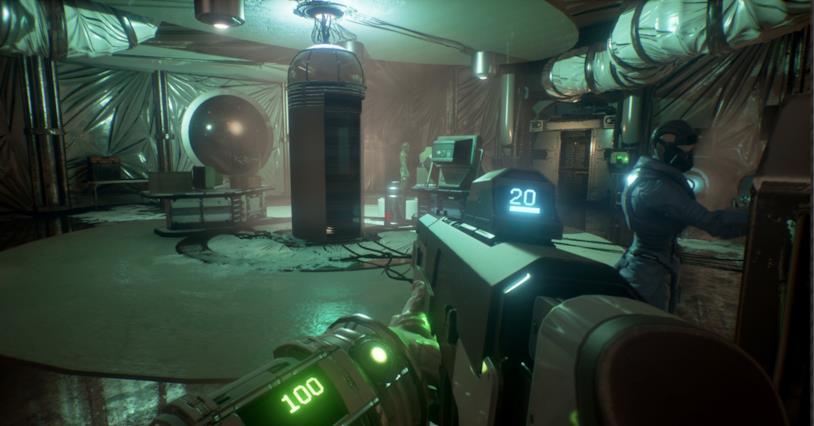 Un'immagine mostra le meccaniche di shooting in Genesis Alpha One