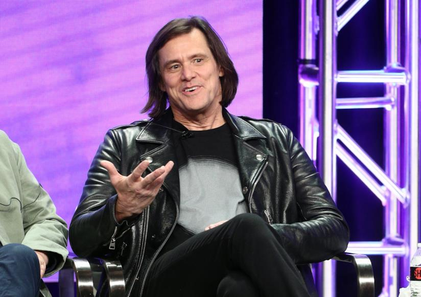 Jim Carrey fotografato durante un press tour