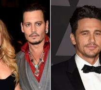 Collage tra Amber Heard, Johnny Depp e James Franco