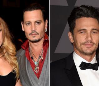 Collage tra Amber Heard, Johnny Depp e James Franco