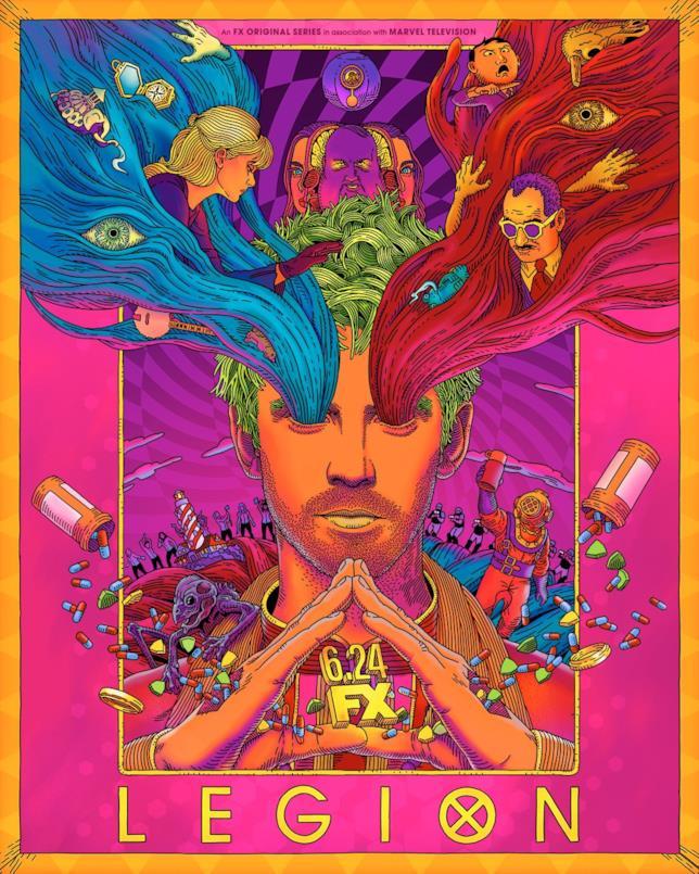 Il poster psichedelico di Legion con i protagonisti della serie