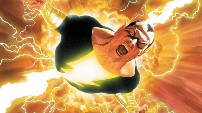 Black Adama visto dall'alto, colpito dal fulmine del mago Shazam