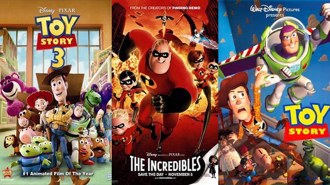 I film Toy Story 3, Gli Incredibili e Toy Story