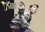 Locandina disegnata con Yorick in camicia di forza e la sua scimmietta Ampersand sulle spalle