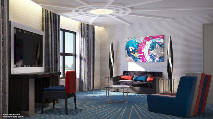 Concept art di una delle stanze del Marvel Hotel a Parigi