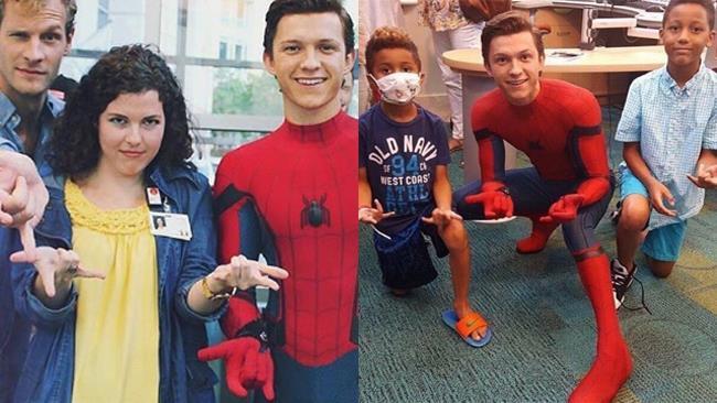 Tom Holland vestito da Spider-Man