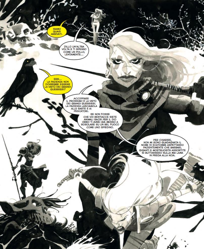 Tavola di Il Corvo: Virtù Sepolta con la guerriera e il corvo