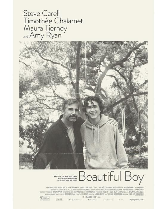 Timothée Chalamet e Steve Carell nel poster in bianco e nero di Beautiful Boy