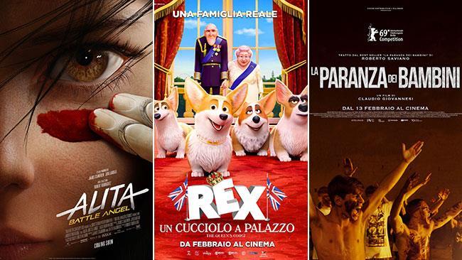 I poster di Alita - Angelo della battaglia, Rex - Un cucciolo a palazzo, La paranza dei bambini