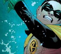 Damian Wayne in azione in una tavola a fumetti di DC Comics