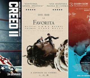 I poster di Creed II, La Favorita, Se la strada potesse parlare