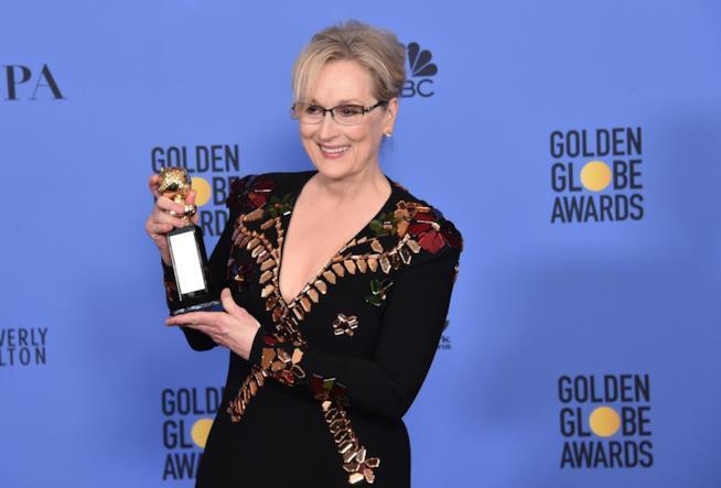 Un'immagine di Meryl Streep ai Golden Globes