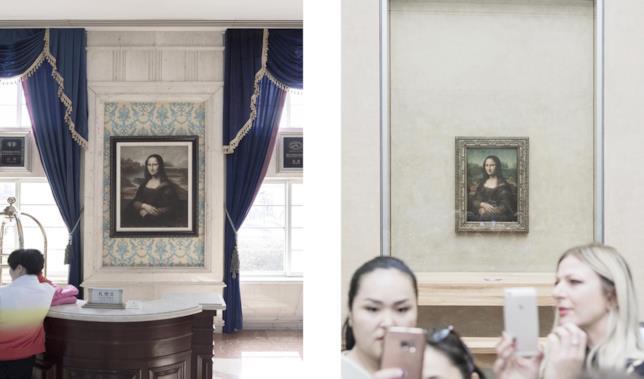 Confronto tra La Gioconda di Leonardo da Vinci a Parigi (destra) e la sua copia espsota a Tianducheng (sinistra)
