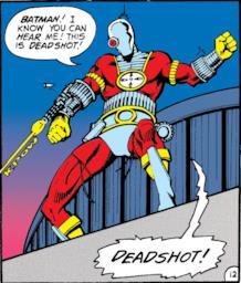 Disegno di Deadshot mentra spara da un tetto