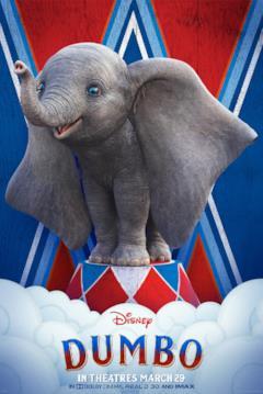 Il teaser poster inglese di dumbo, con l'elefante su un piedistallo