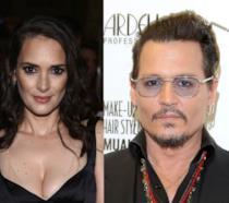 Primo piano di Winona Ryder e Johnny Depp