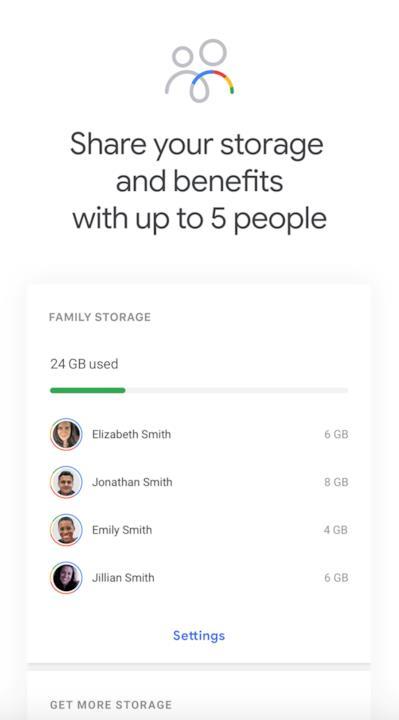 Screen della sezione dell'app Google One per la condivisione con membri della famiglia