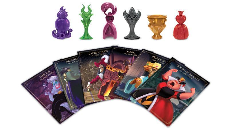 Pedine e carte del gioco da tavolo Disney Villainous