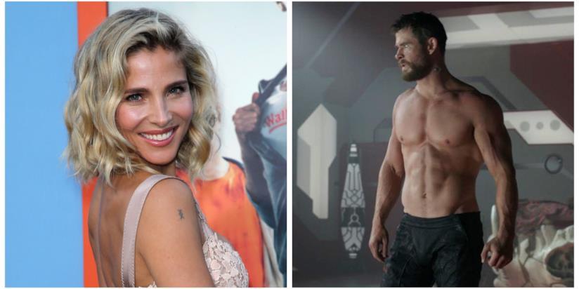 Elsa Pataky a una movie premiere e Chris Hemsworth in una scena di Thor: Ragnarok